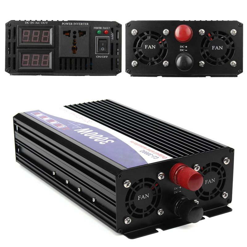 Inverter 12V 220V 3000W Car Vehicle Power Inverter Pure Sine Wave 12V DC to 220V AC Transmitter Transformer Power Supply