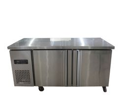 1.8 m Acero inoxidable comercial 2 Puertas refrigerador congelador frigorífico banco de trabajo