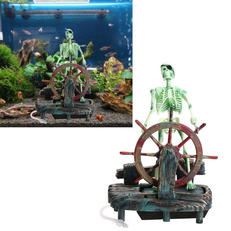Pirate Capitaine Aquarium Décorations Paysage Squelette sur Roue Action Figure Aquarium Ornement Aquarium Décoration