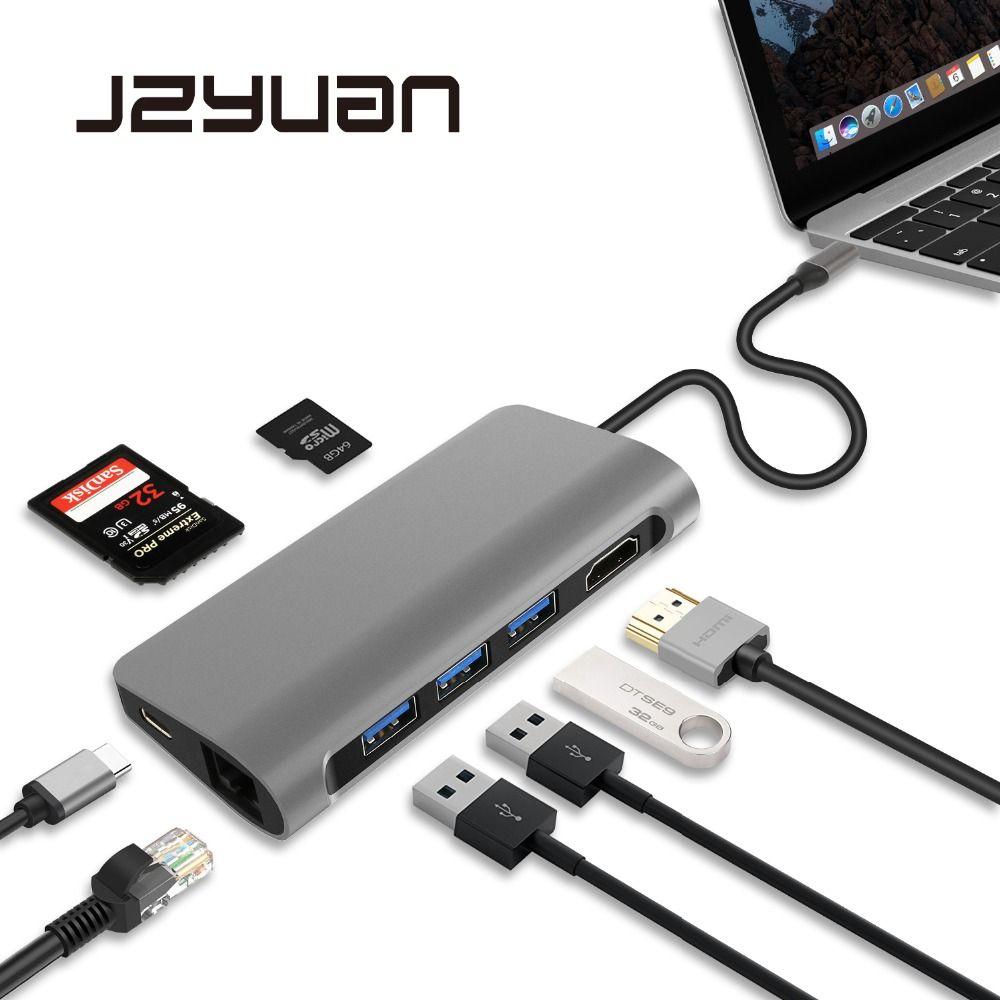 JZYuan USB C 3,1 Dongle HDMI 4 karat Ethernet LAN USB 3.0 PD SD/TF Kartenleser Combo HUB Splitter für Samsung S9/S8/S8 + Macbook Pro