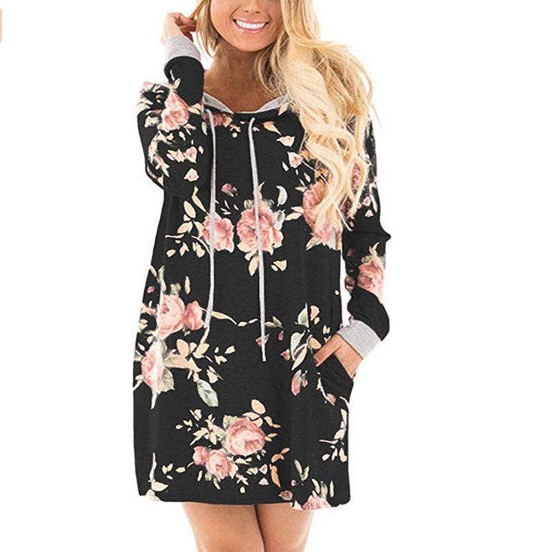 Women Printed Floral Hoody Black Hoodie Long Sweatshirt Dress 2017 Bts Long Sleeve Hooded Girls Hoodies Pullovers Tumblr Female