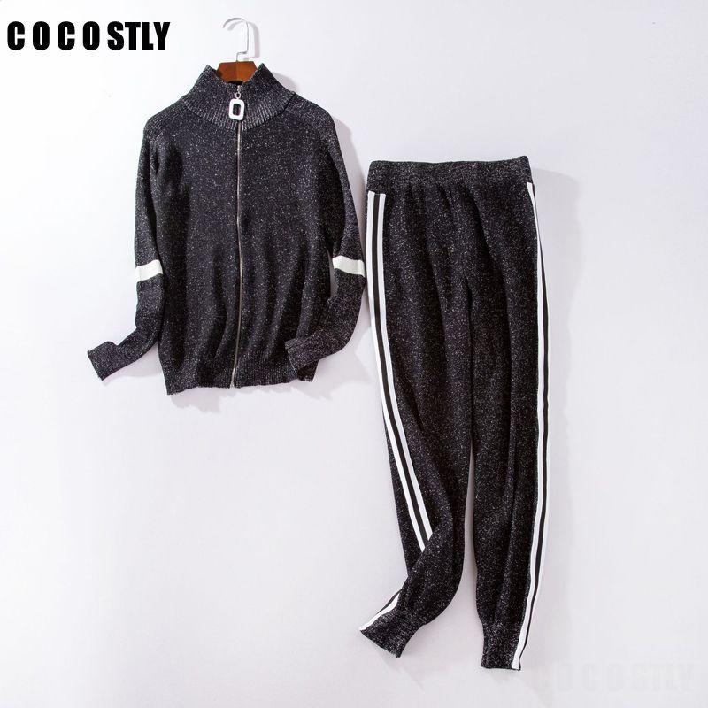 Women Sportswear Autumn Winter Warm Knitted Tracksuit 2 Piece Set Women Sweatshirt Pant Sweat Suit Clothing