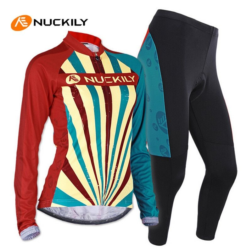 NUCKILY Slim Fit Female Cycling Clothing Set Breathable Sunscreen Roupa Ciclismo Anti-Sweat Pro Cycling Bike Clothing Suit