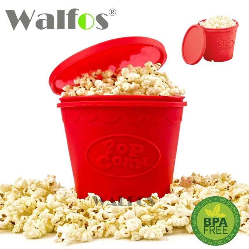 WALFOS FOOD GRADE silicone popcorn container DIY Silicone Microwave Popcorn Maker Bucket As Seen On TV