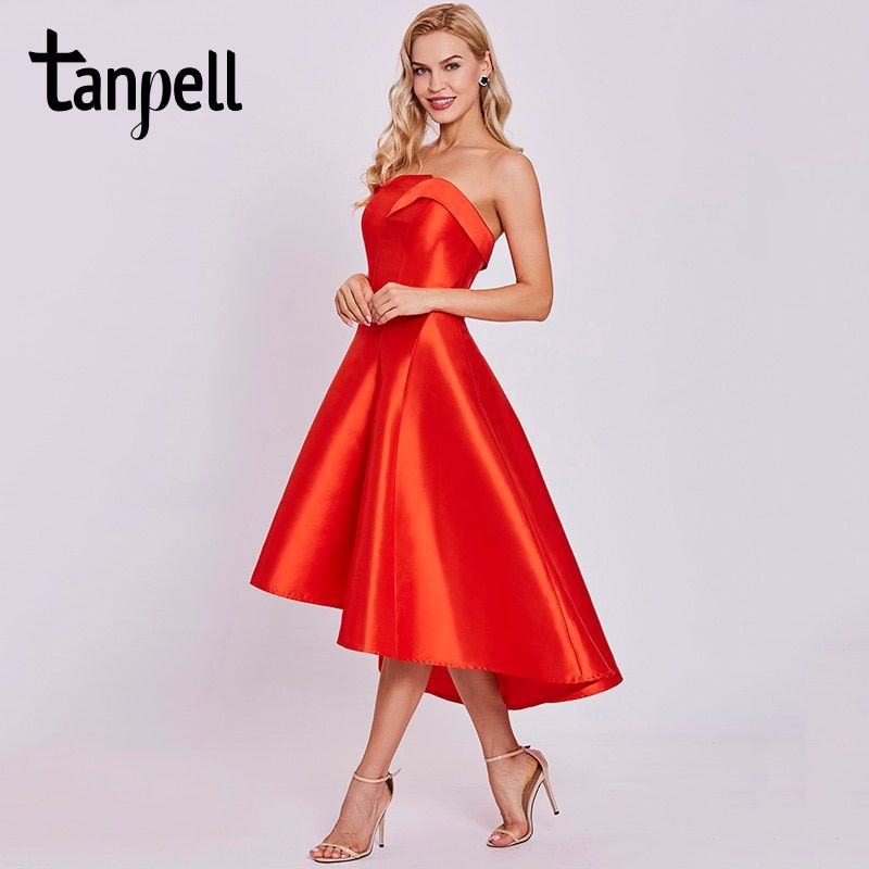 Tanpell short homecoming dress red draped sleeveless knee length asymmetry dress lady strapless formal cocktail homecoming gown