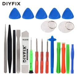 DIYFIX 21 in 1 Cellphone Repair Tools Kit Mini Screwdriver Set Screen Opening Pry Crowbar Pliers for iPhone Xs 8P iPad Samsung