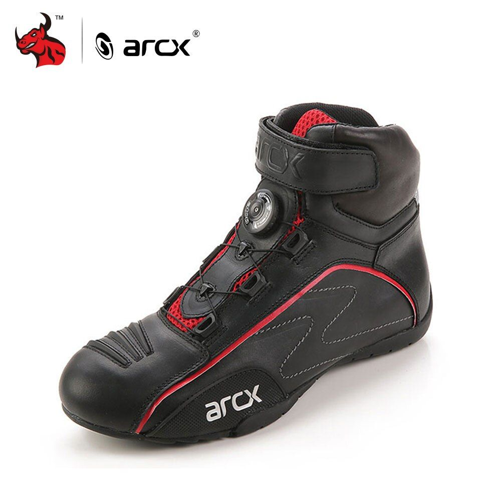 ARCX Cow Leather Motorcycle Road Racing Shoes Street Moto Cruiser Touring Biker Motorbike Riding Boots with Tuning Knob Laces
