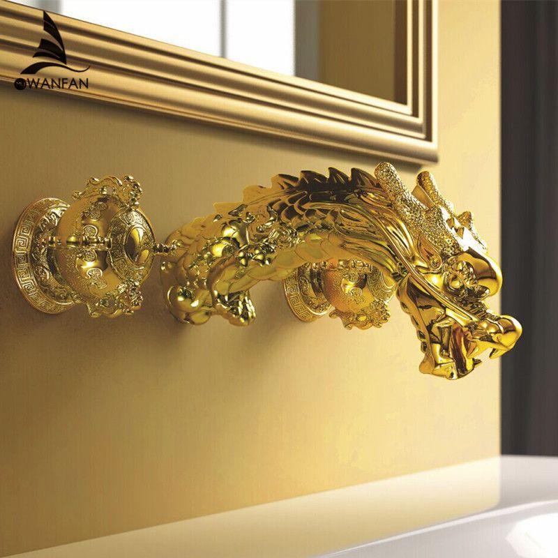 Bathtub Faucet Wall Mount Baroque Style Gold Brass Bathroom Lavatory Sink Faucet Dragon Dual Handles Mixer Basin Tap LB-69C018-A