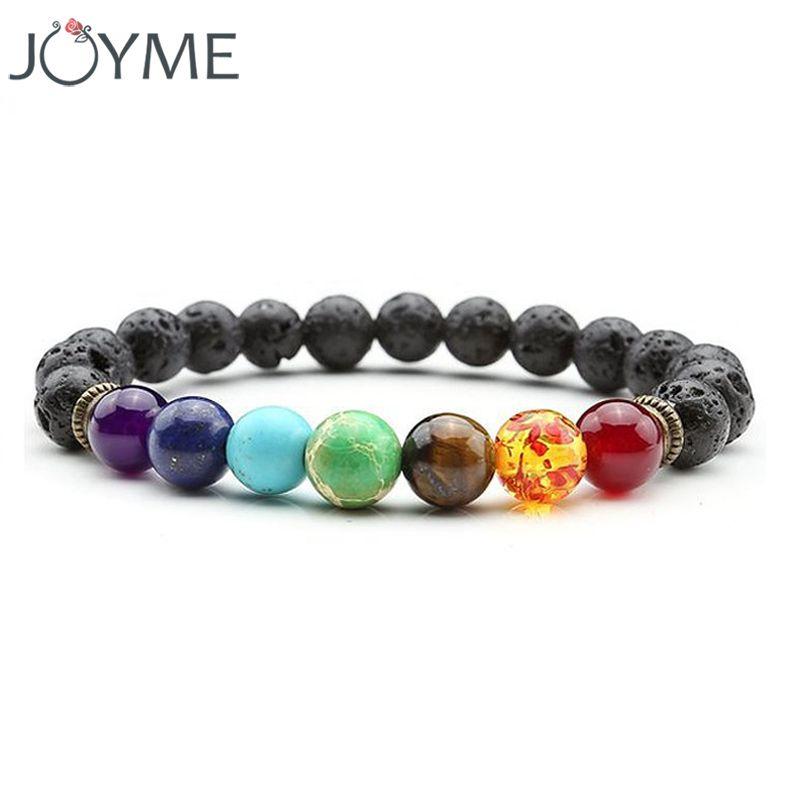 Joyme New 7 Chakra Bracelet Men Black Lava Healing Balance Beads Reiki Buddha Prayer Natural Stone Yoga Bracelet For Women
