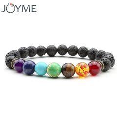Joyme Nouveau 7 Chakra Bracelet Hommes Noir Lava Guérison Équilibre Perles Reiki Bouddha Prière Naturel Pierre De Yoga Bracelet Pour Les Femmes