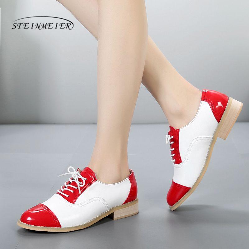 2019 femmes oxford chaussures en cuir véritable appartements marron à la main chaussures plates à lacets vintage oxfords chaussures pour les femmes avec de la fourrure