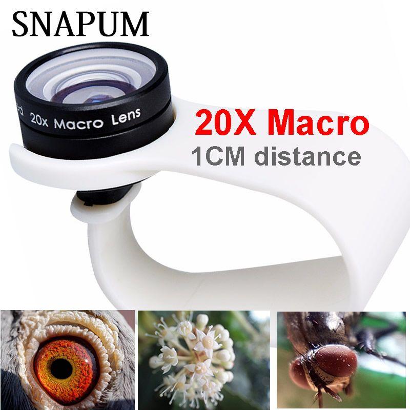 SNAPUM téléphone portable Macro objectif 20X Super téléphone portable Macro objectifs pour Huawei xiaomi iphone 6 7 8 10 Samsung, utiliser seulement 1cm de distance.