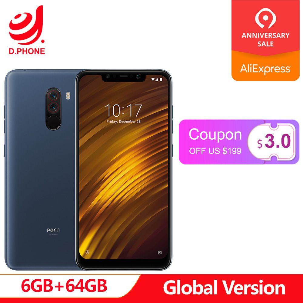 Mondial Version Xiaomi POCOPHONE F1 6 GB RAM 64 GB ROM LiquidCool Technologie Snapdragon 845 20MP caméra avant charge rapide 3.0