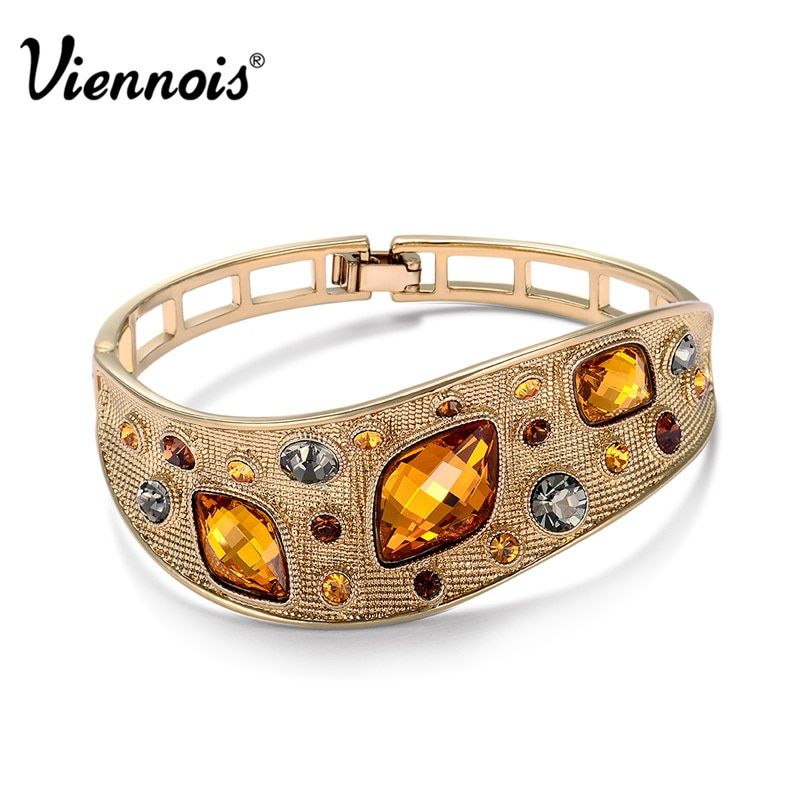 Viennois Vintage Bangles For Woman Fashion Jewelry Coffee Gold Color Alloy with Top Austrian Rhinestone Orange Crystal