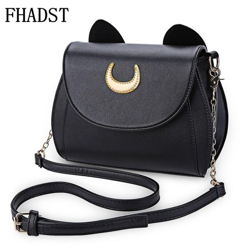 FHADST Summer Sailor Moon Ladies Handbag Black Luna Cat Shape Chain Shoulder Bag PU Leather Women Messenger Crossbody Small Bag