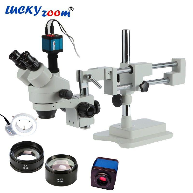 Luckyzoom 3.5X-90X Simul-Brenn Doppel Boom Stand Stereo Trinocular Mikroskop 14MP HDMI Kamera 144 stücke Led Mikroskop zubehör