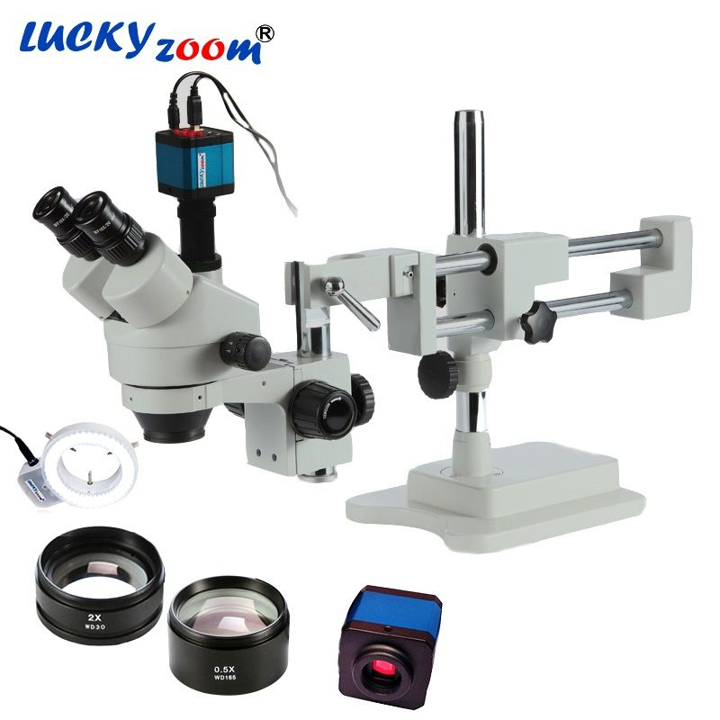 Luckyzoom 3.5X-90X Simul-Focal Double Boom Stand Stereo Trinocular Microscope 14MP HDMI Camera 144pcs Led Microscope Accessories