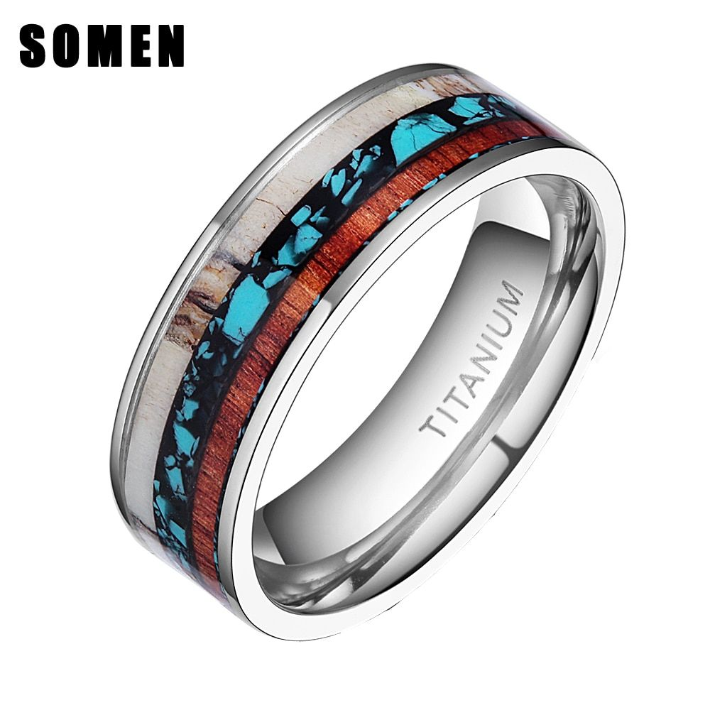 8mm Vintage Wood Antlers Inlay Titanium Ring Engagement Rings For Women Men Wedding Band Fashion Love Ring Jewelry anillos <font><b>mujer</b></font>