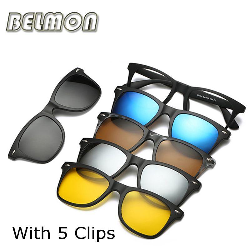 Monture de lunettes de mode Hommes Femmes Avec 5 Pièces Clip Sur Lunettes De Soleil Polarisées Magnétique Lunettes Mâle Conduite Myopie Optique RS120