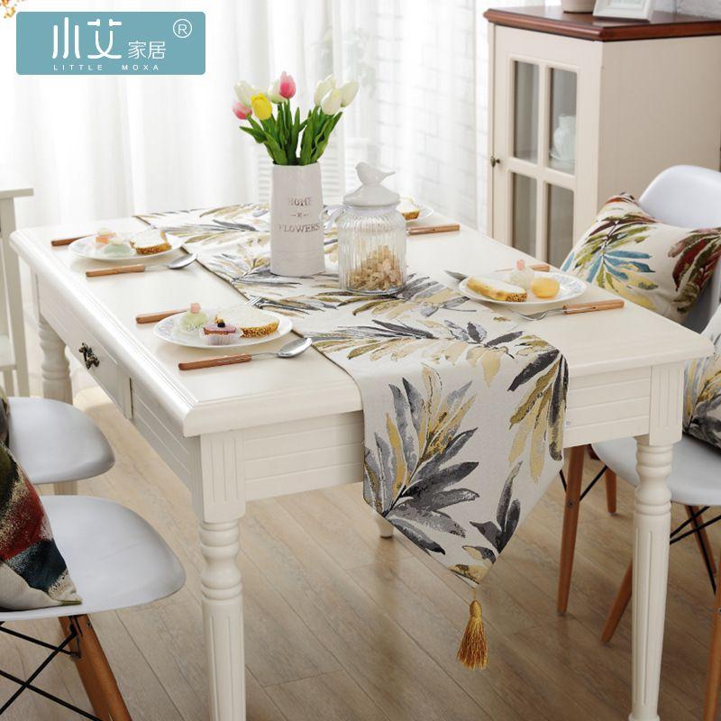 Nappe en Jacquard de Style campagnard américain couleur feuilles décor chemin de table drapeau de lit décoratif
