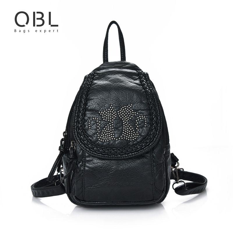 QiBoLu Mini Small Backpack Women Bag Black Travel School Bags Teenage Girls Female Mochilas <font><b>Mujer</b></font> Feminina Sac a Dos Femme W672