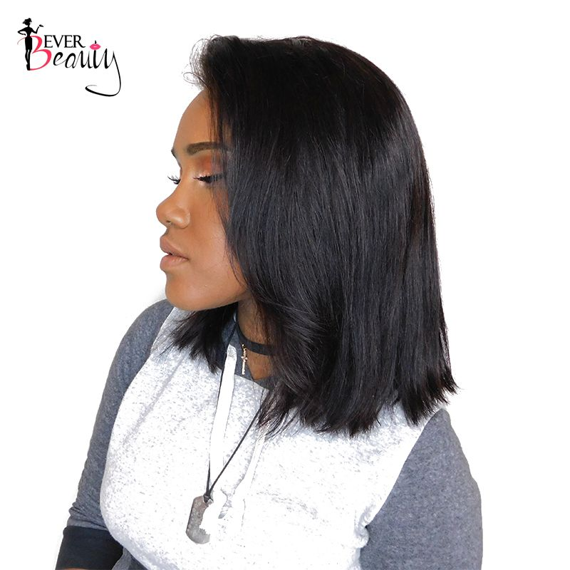 Lace Front Human Hair Wigs 180% Density Bob Wig Straight Brazilian Short Human Hair Wigs Natural Black Non Remy Ever Beauty