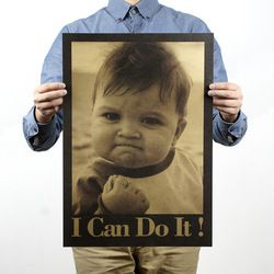 Child I Can Do It Nostalgic Vintage Kraft Paper Movie Poster Magazine Home  Art  Cafe Bar Decoration Retro Posters and Prints