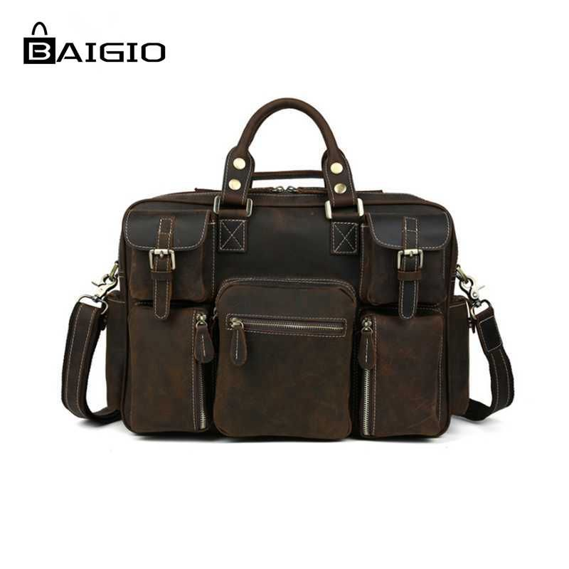 Baigio Men Bag Genuine Leather Travel Tote Duffle Bags Vintage Brown Italian Style Crossbody Bag Large Hand Luggage Shoulder Bag
