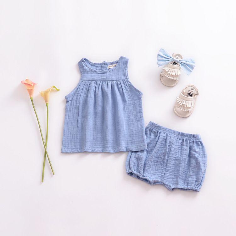 Kleinkind Mädchen Sommer Leinen Kleidung Baby Mädchen Solide Ärmelloses Top Chubby Shorts Kleidung Kinder Mädchen Kleidung
