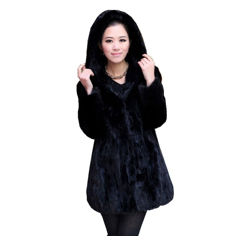 Luxury Genuine Sliced Mink Fur Coat Jacket with Hoody Winter Genuine Women Fur Outerwear Plus Size 3XL 4XL 5XL LF4321
