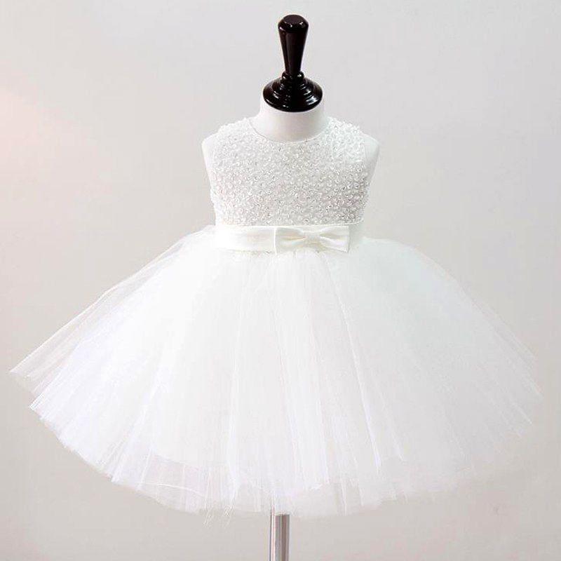 2019 bébé fille robes de baptême Vintage bébé fille robe robes de baptême pour les filles princesse main perles fête Tutu robe fille