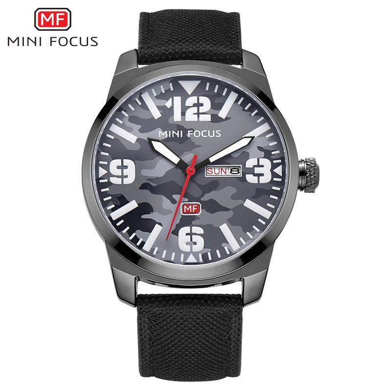 MINI FOCUS Marque De Luxe Hommes de Montre À Quartz Analogique Date Jour horloge Mâle Sport Montres Hommes Bracelet En Nylon Casual Militaire Poignet montre
