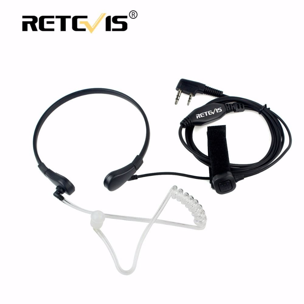 Throat Mic Earpiece 2Pin Finger PTT Headset Walkie Talkie Accessories For Baofeng UV5R Bf-888s Retevis H777 RT-5R For Kenwood