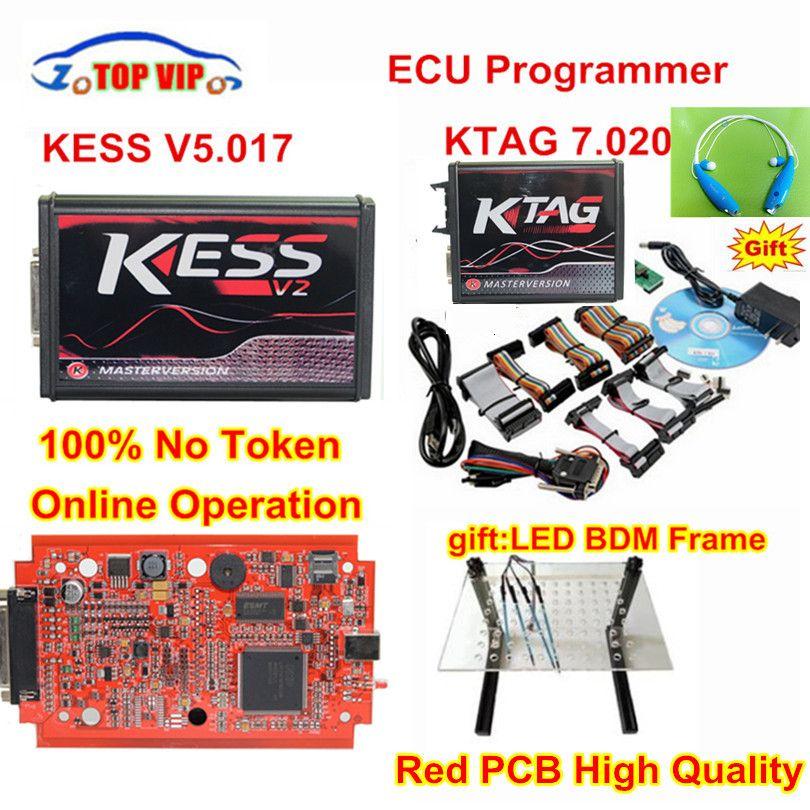 Online V2.47 EU Red Kess V5.017 OBD2 Manager Tuning Kit KTAG V7.020 4 LED Kess V2 5.017 BDM Frame K-TAG 7.020 ECU Programmer