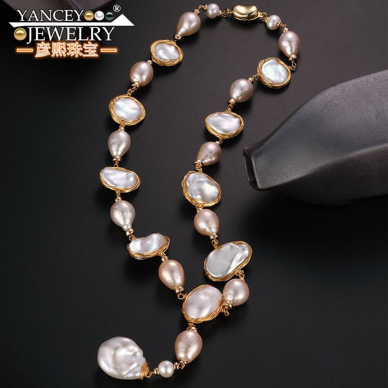 Original design G9K gold Baroque big Pearl Long Necklace sweater chain Fine Pendant Necklace for women and girl, High-end luxury