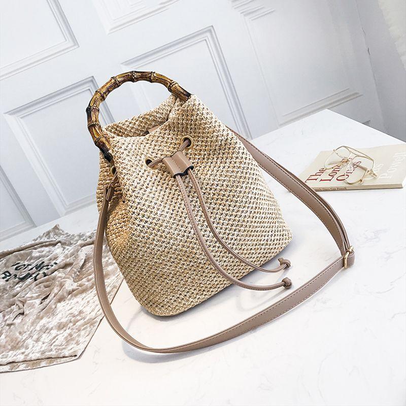 Drawstring Women's Straw Bucket Bag Summer Woven Shoulder Bags Shopping Purse Beach Handbag Straw Handbags Travel Bag