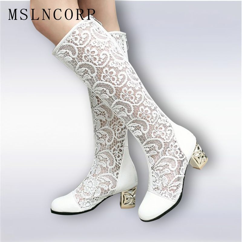 Size 34-46 New Fashion Women Knee High Boots Square heel Zipper Sexy Lace Mesh Boots Summer Cool Boots Breathable Women's Shoes