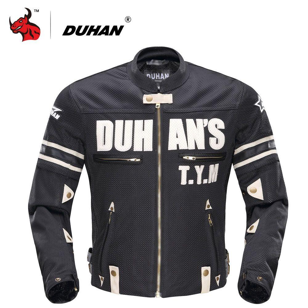 DUHAN Summer Men Motorcycle Jacket Mesh Motorcycle Textile Jacket Motorcycle Racing Jackets Protector Blouson Moto Black