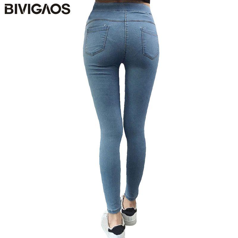 BIVIGAOS basique Skinny femmes Jeans cheville crayon pantalon Slim élastique Denim pantalon Jean Leggings femme coton jegging Jeans femmes