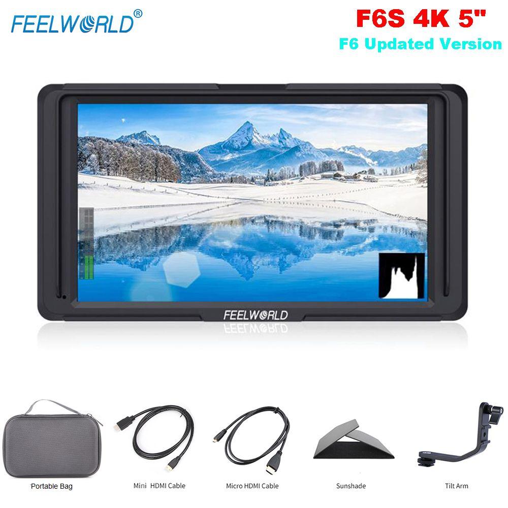 Feelworld F6S 5 zoll Auf-Kamera Feld Monitor F6 Aktualisiert Version 4 karat Hdmi-eingang Volle HD 1920x1080 IPS für Kamera Video Stabilisator