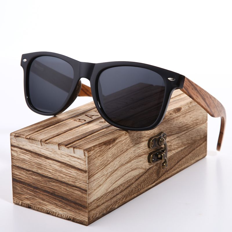 Sunglasses 2018 Polarized Zebra Wood Glasses <font><b>Hand</b></font> Made Vintage Wooden Frame Male Driving Sun Glasses Shades Gafas With Box