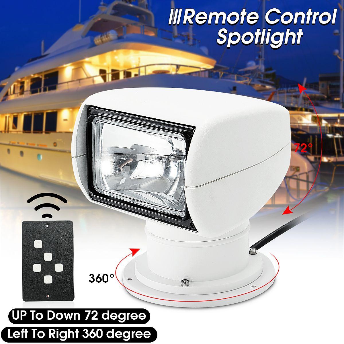 Boat Truck Car Spotlight 12V 100W 2500LM 3200K PC+Aluminum Marine Searchlight Light Bulb Remote Control Multi-angled White