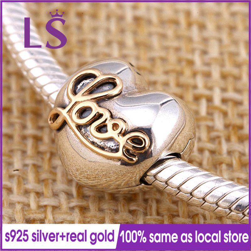 LS 100% 1.4.k G.old Heart of Love Clip Charm Fit Original Bracelets Pulseira Charm Berloque 925 100% Original Fine Jewelry N