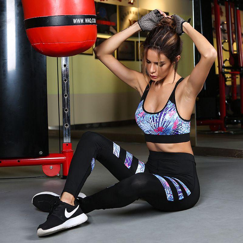 Didiopt Hot <font><b>Sell</b></font> Bra+Leggings Women Bra And Leggings Hot <font><b>Sell</b></font> Printed Stripes Women Set GYM And Yoga Clothing S1731