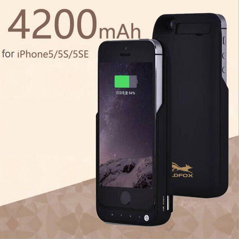 GOLDFOX Portable 4200 mAh Puissance Banque Batterie Cas pour iphone 5 5S téléphone De Secours Externe Batterie Chargeur Cas Pour iPhone 5 5S SE