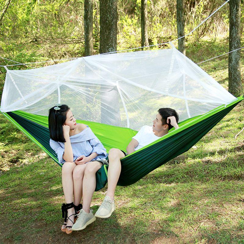 Hamac Parachute ultraléger chasse moustiquaire Double personne lit de couchage Drop-Shipping Camping extérieur hamac Portable