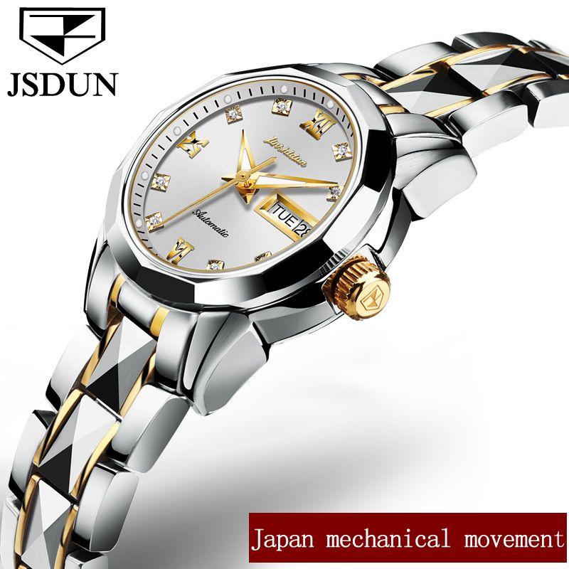 Mechanical Wristwatch JSDUN Luxury Brand Ladies Automatic Watch Water Resistant Auto Date Business Female Steel watches 2018