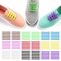 Creative Design Unisex Women Men Athletic Running No Tie Shoelaces Elastic Silicone Shoe Lace All Sneakers 9 Colors Optional