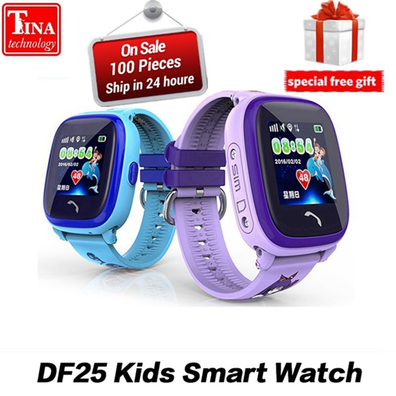 Waterproof DF25G Kids Smart Watch PK dz09 GPS Smart Baby Smartwatch SOS Call Location Device Tracker Kids Safe Anti-Lost Monitor
