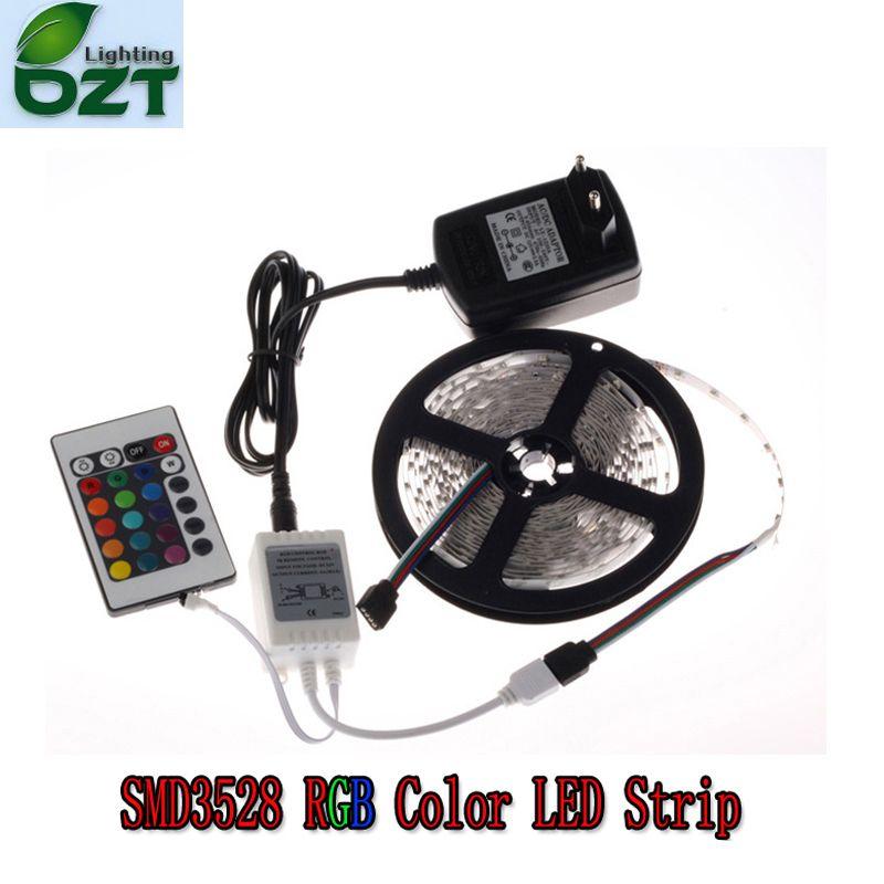 RGB LED bande 5 M 300 LED 3528 SMD 24Key IR télécommande 12 V 2A adaptateur secteur Flexible lumière LED bande décoration de la maison lampes